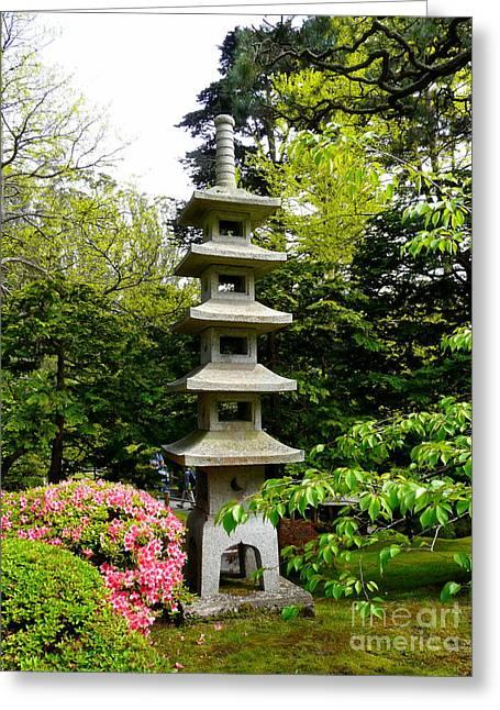 Tranquil Japanese Garden Greeting Card by Avis  Noelle