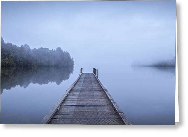 Tranquil Lake And Misty Dawn Panorama Greeting Card by Colin and Linda McKie
