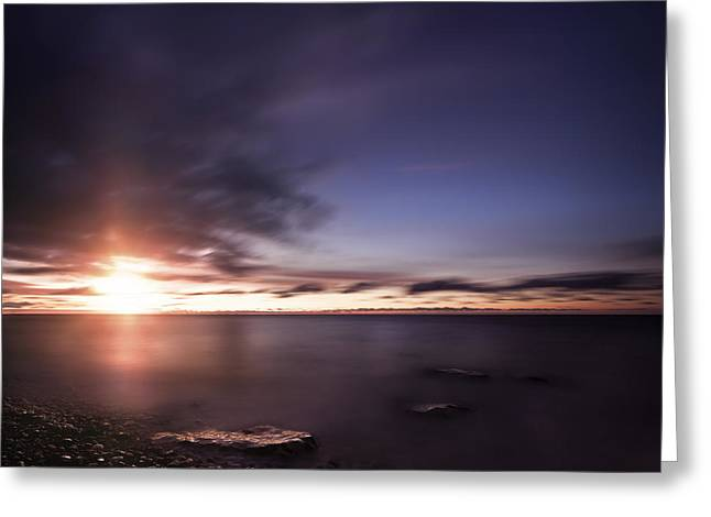 Tranquil Sea Against Moody Sky Greeting Card