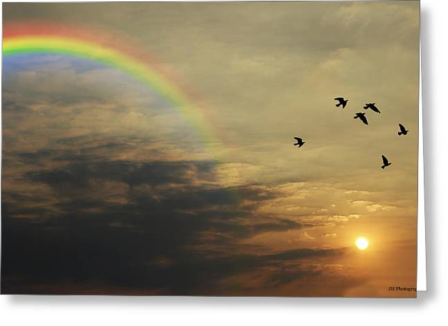 Tranquil Sunset And Rainbow Greeting Card by Jay Harrison