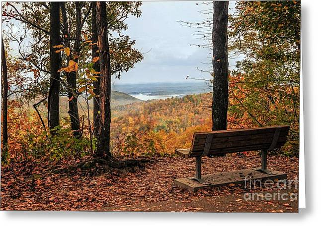 Greeting Card featuring the photograph Tranquility Bench In Great Smoky Mountains by Debbie Green