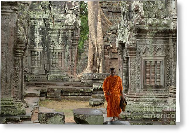 Tranquility In Angkor Wat Cambodia Greeting Card by Bob Christopher
