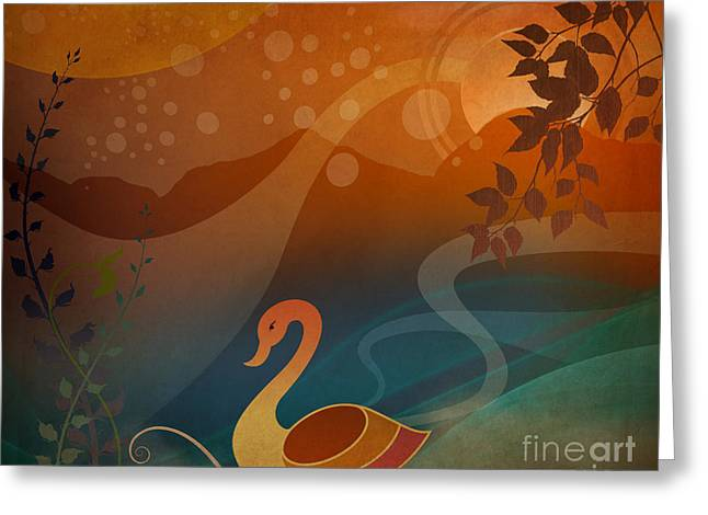Tranquility Sunset Greeting Card by Bedros Awak