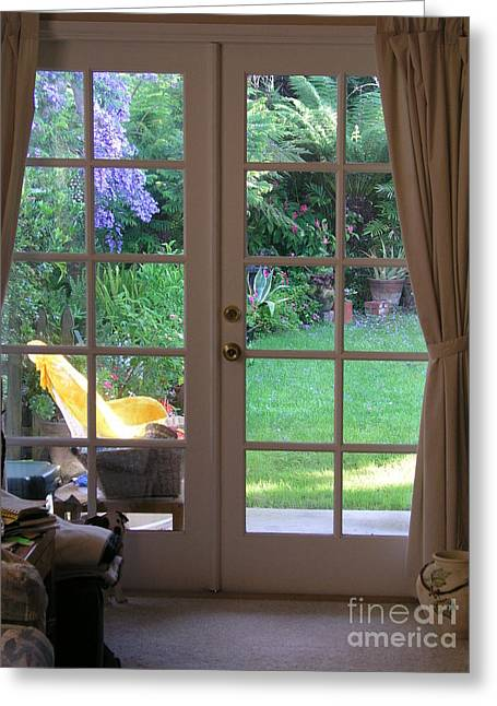 Tranquility Through French Doors Greeting Card by Bev Conover