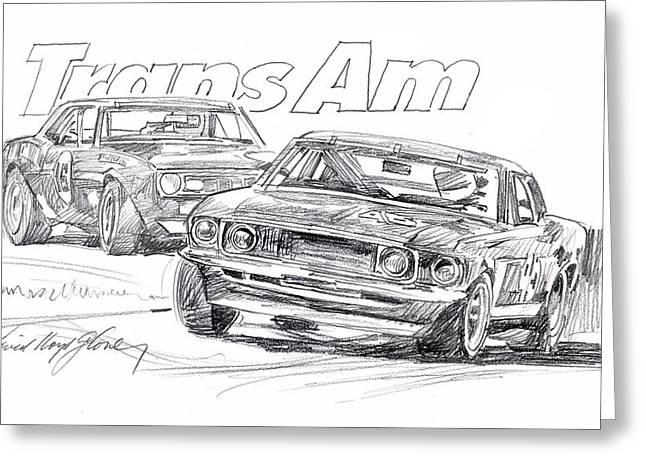 Trans Am Racing Mustang Greeting Card