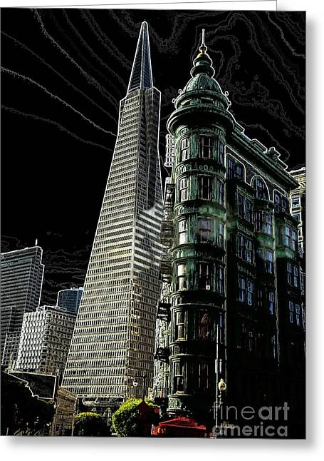 Transamerica And Zoetrope In S F Greeting Card by David Bearden