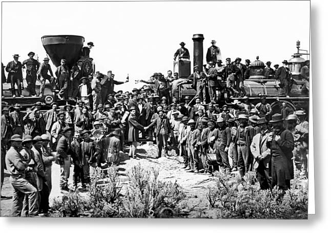 Transcontinental Railroad Greeting Card by Underwood Archives