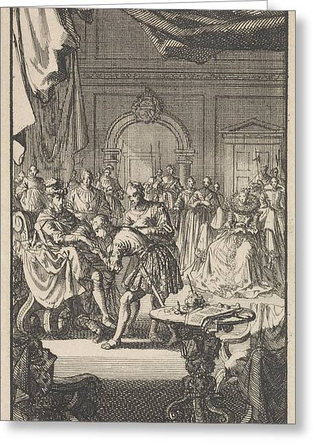 Transfer Of The Spanish Netherlands By Philip II Greeting Card by Jan Luyken