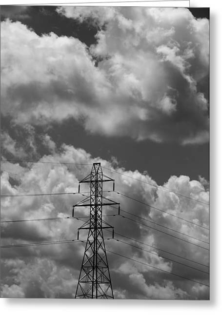 Transmission Tower In Storm Greeting Card by Dan Sproul