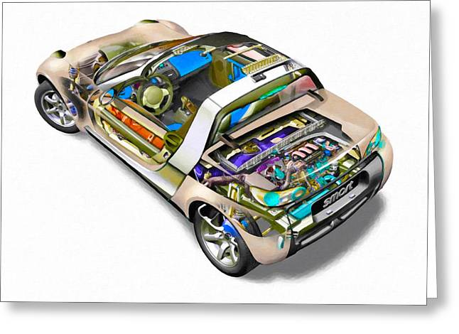 Transparent Car Concept Made In 3d Graphics 2 Greeting Card by Lanjee Chee
