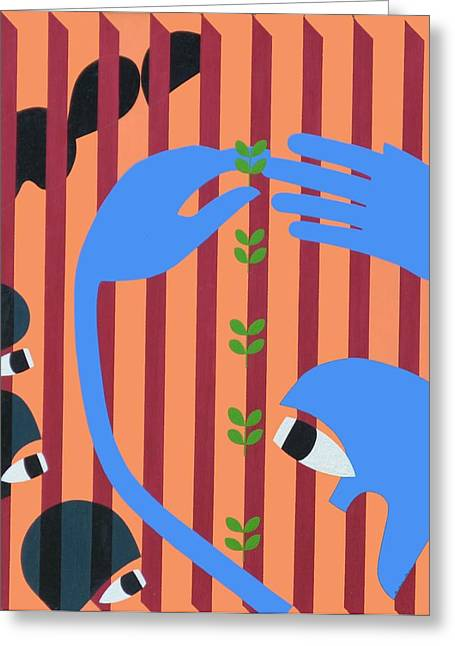 Transplanting, 1967 Acrylic On Board Greeting Card by Ron Waddams