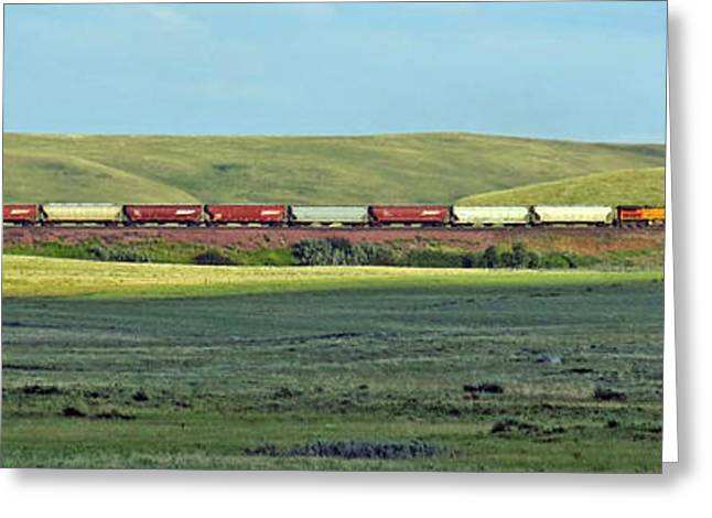 Transportation. Panorama With A Train. Greeting Card by Ausra Huntington nee Paulauskaite