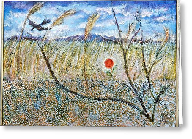 Transylvanian Landscape With Crow Greeting Card by Ion vincent DAnu