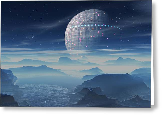 Tranus Alien Planet With Satellite Greeting Card