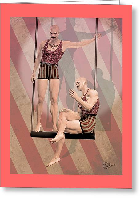 Trapezist Brothers Greeting Card by Quim Abella