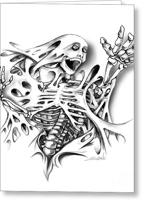Trapped Skeleton By Spano Greeting Card