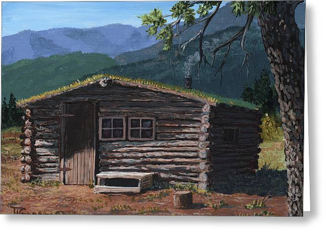 Trapper Cabin Greeting Card by Timithy L Gordon