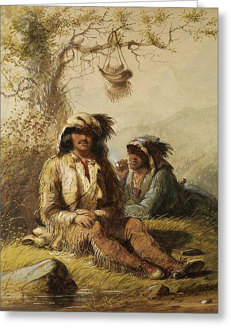 Trappers Greeting Card by Alfred Jacob Miller