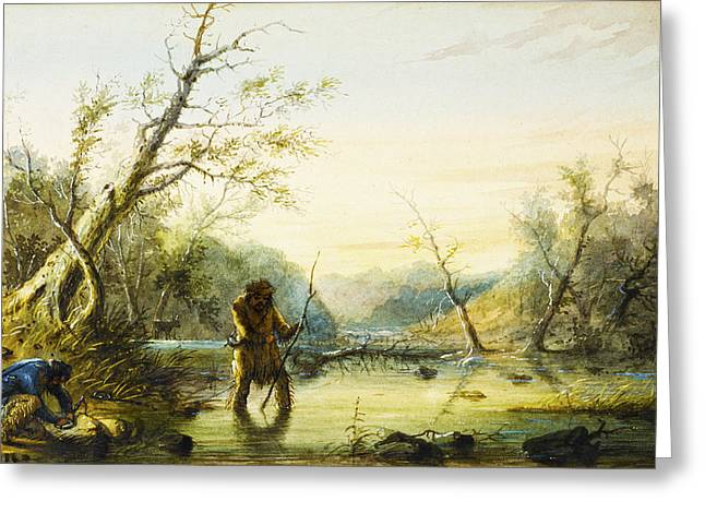 Trapping Beaver Greeting Card by Alfred Jacob Miller