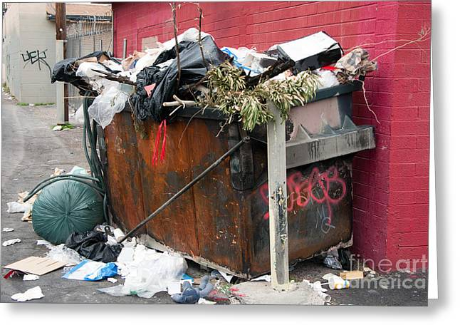 Greeting Card featuring the photograph Trash Dumpster In Slums by Gunter Nezhoda