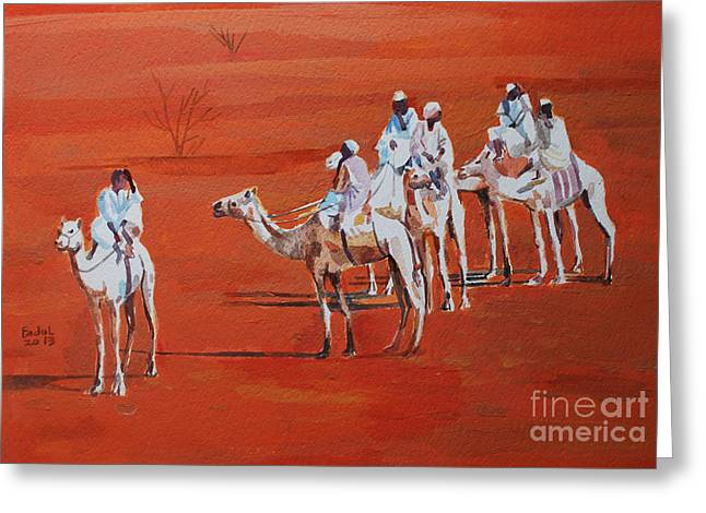 Travel By Camels Greeting Card by Mohamed Fadul