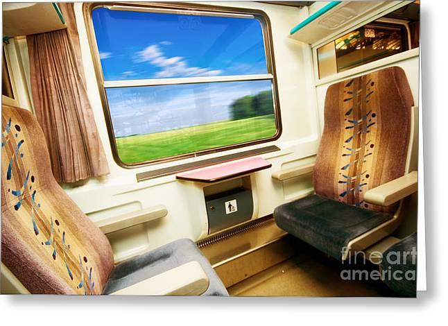 Travel In Comfortable Train. Greeting Card by Michal Bednarek