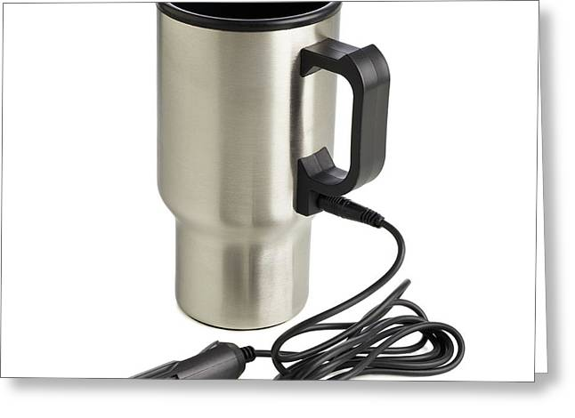 Travel Mug And Car Charger Greeting Card by Science Photo Library
