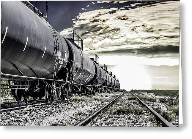 Train And Transient Greeting Card by Brian Yasumura Jr