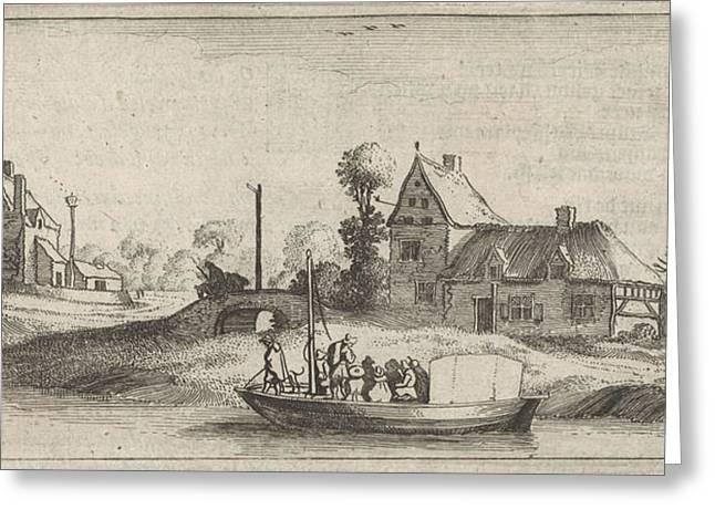 Travelers In A Boat On A River, Jan Van De Velde II Greeting Card by Jan Van De Velde (ii) And Cornelis Willemsz Blaeu-laken