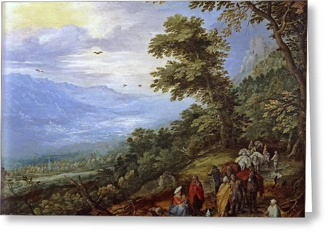 Travelers Meeting Band Of Gypsies On Mountain Pass Greeting Card