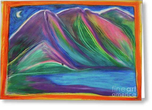 Greeting Card featuring the painting Travelers Mountains By Jrr by First Star Art