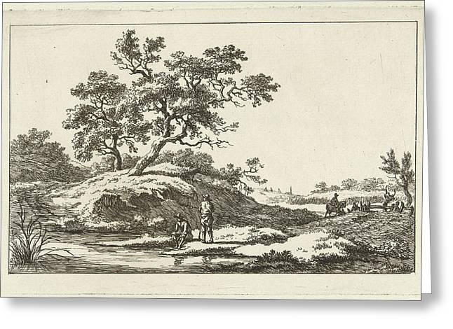 Travelers Near Water, Print Maker Carel Lodewijk Hansen Greeting Card