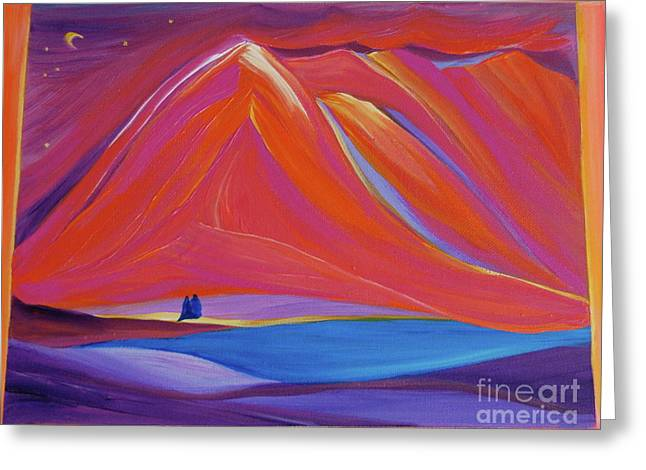 Greeting Card featuring the painting Travelers Pink Mountains by First Star Art