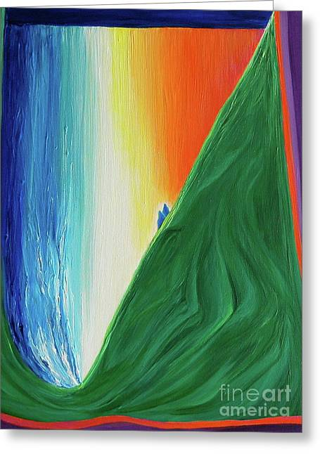 Greeting Card featuring the painting Travelers Rainbow Waterfall By Jrr by First Star Art