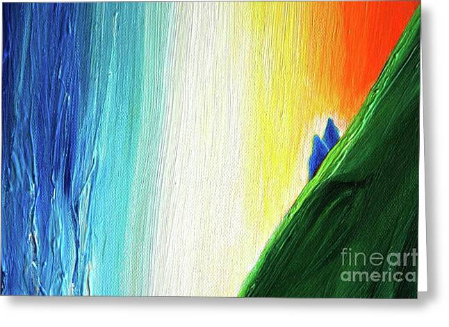 Greeting Card featuring the painting Travelers Rainbow Waterfall Detail by First Star Art