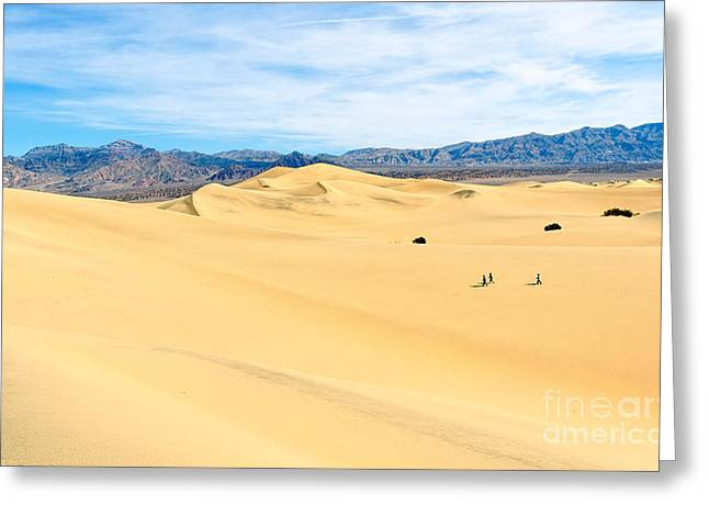 Travelers - Three People Walking Across The Sand Dunes In Death Valley National Park In California Greeting Card by Jamie Pham