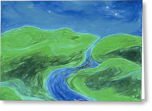 Greeting Card featuring the painting Travelers Upstream By Jrr by First Star Art