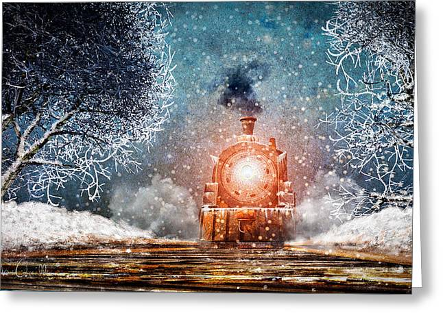 Traveling On Winters Night Greeting Card