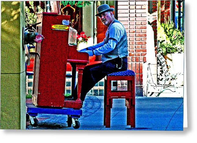 Traveling Piano Player Greeting Card