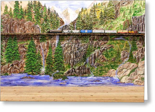 Greeting Card featuring the painting Traveling The Rails Wall Mural by Alethea McKee