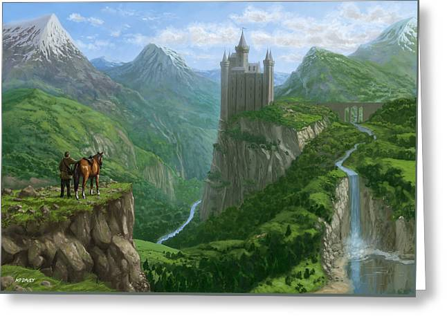 Traveller In Landscape With Distant Castle Greeting Card