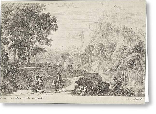 Travellers On A Donkey, Print Maker Herman Van Swanevelt Greeting Card
