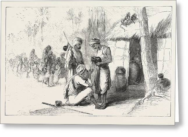Travelling In India Wayside Shed For Supplying Travellers Greeting Card