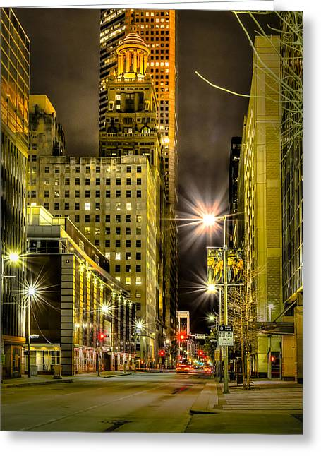 Travis And Lamar Street At Night Greeting Card