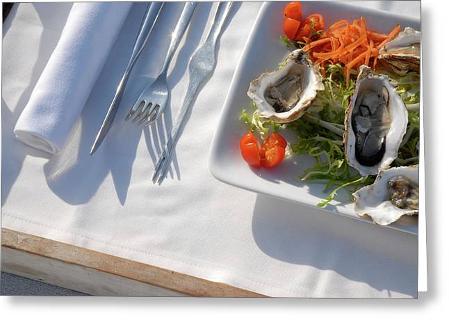 Tray With Oysters And A Fruit Juice Greeting Card by Nano Calvo