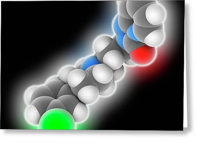 Trazodone Drug Molecule Greeting Card by Laguna Design