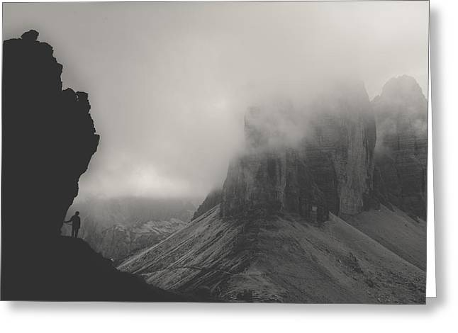 Tre Cime Greeting Card by Tomas Hudolin