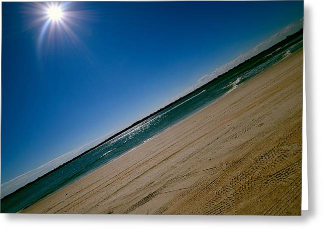 Greeting Card featuring the photograph Treads In The Sand by DigiArt Diaries by Vicky B Fuller