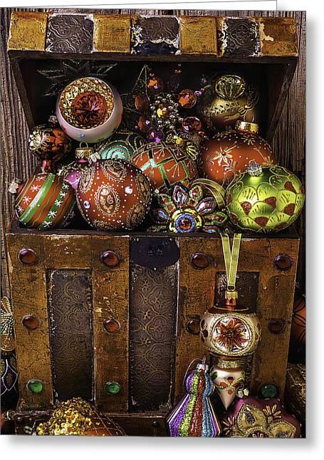 Treasure Box With Christmas Ornaments Greeting Card