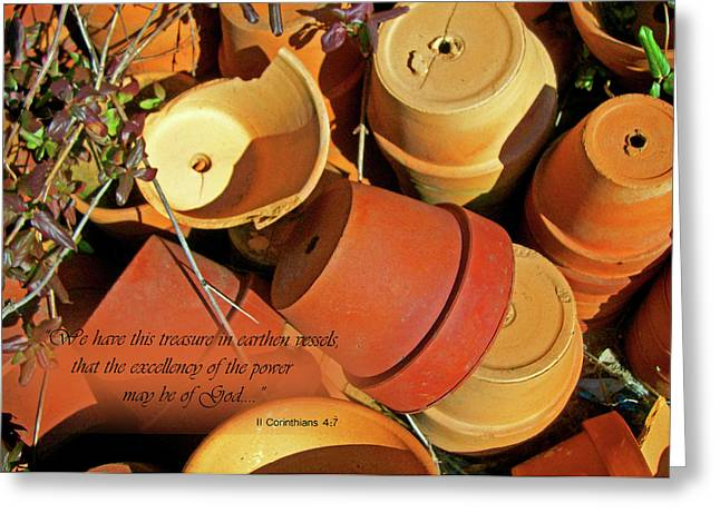 Greeting Card featuring the photograph Treasure In Clay Pots by Larry Bishop